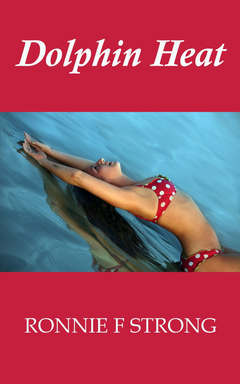 Dolphin heat ebook cover showing a young woman stretching out on a water surface