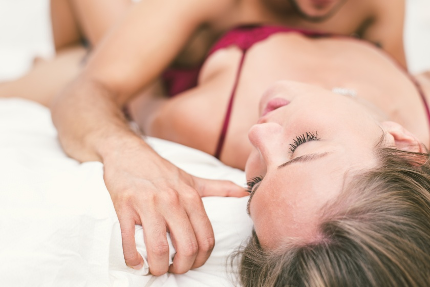 Couple making love in bed. concept about relationship and passio