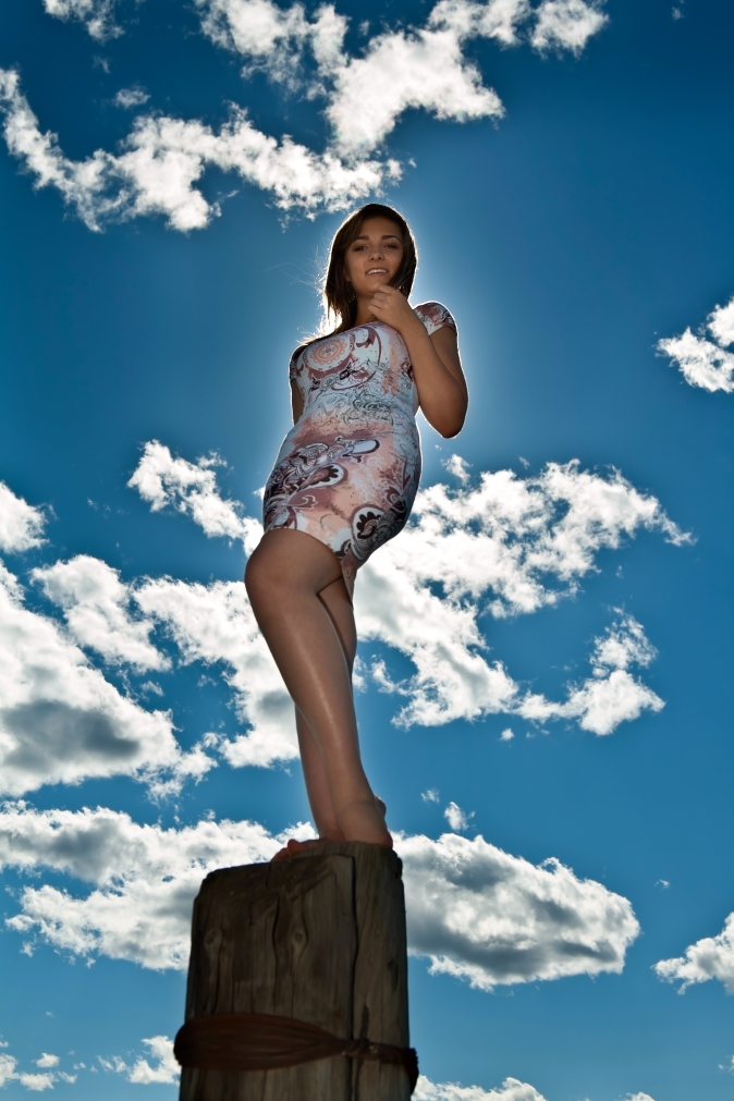 Glamour slim girl posing